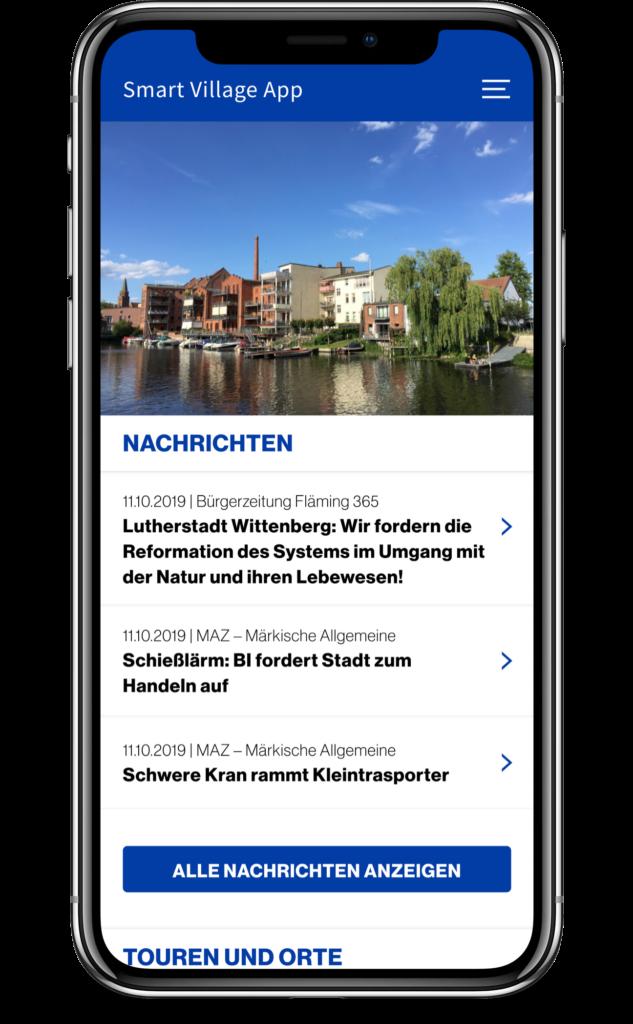 Smart Village App: Screenshot des Homescreens